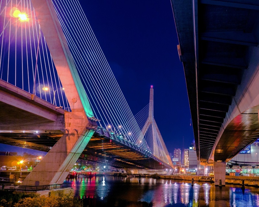 "Leonard P. Zakim Bunker Hill Bridge. Part of ""Big Dig"" is the widest cable-stayed bridge in the world."