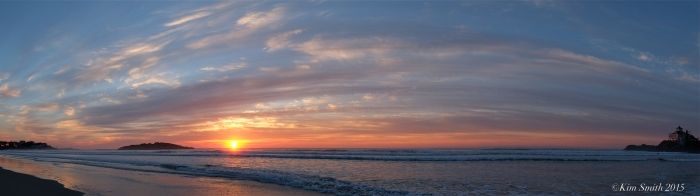 Good Harbor Beach Panorama Sunrise -3 ©Kim Smith 2015.