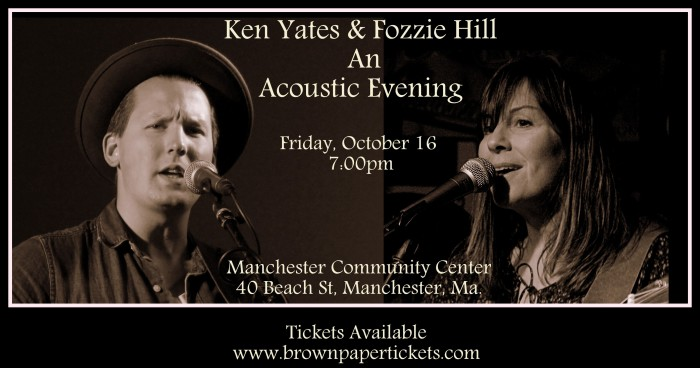 Friday, October 16 at 7:00pm Manchester Community Center 40 Beach St, Manchester, Massachusetts 01944 Tickets Available www.brownpapertickets.com