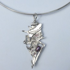 """""""Redeemed By Fire"""" sterling silver necklace with pearl"""" by Katherine Bagley"""