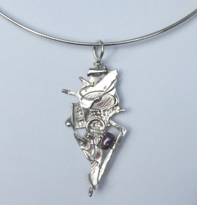 """Redeemed By Fire"" sterling silver necklace with pearl"" by Katherine Bagley"