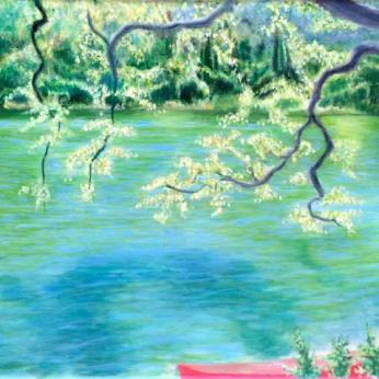 Bonnie Maller, Red Canoe, Zaca Lake, 16x20, Oil on Canvas