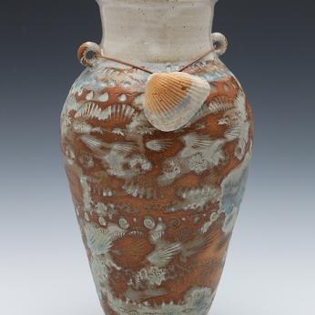 Cynthia Curtis, Sea Vessel Shell Vase, 15Hx6D, Stoneware