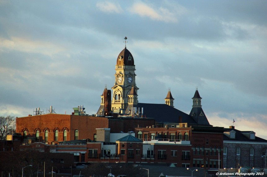 December 3, 2015 sun starting to set over city hall