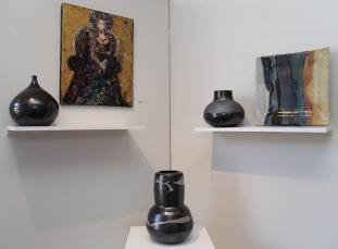 Anni Melançon, Stoneware/Eleanor Fisher, Glass Shard Painting