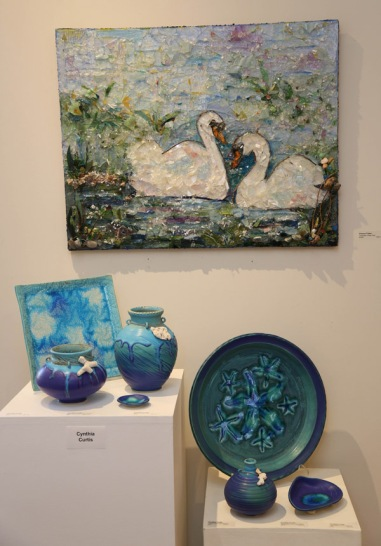 Cynthia Curtis, Pottery/Eleanor Fisher, Glass Shard Painting
