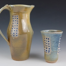 Zachary Mickelson, Pitcher and Tumbler, 5x5x12, Soda Fired Ceramic