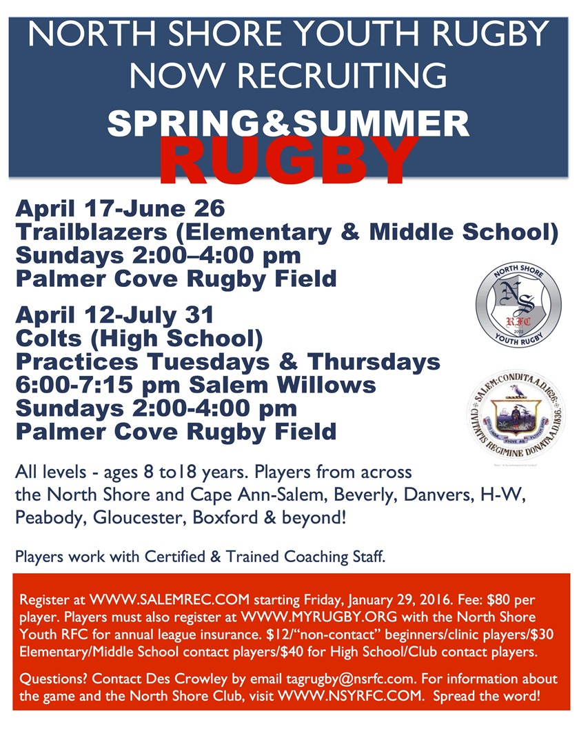 2016 Spring Summer Rugby flyer