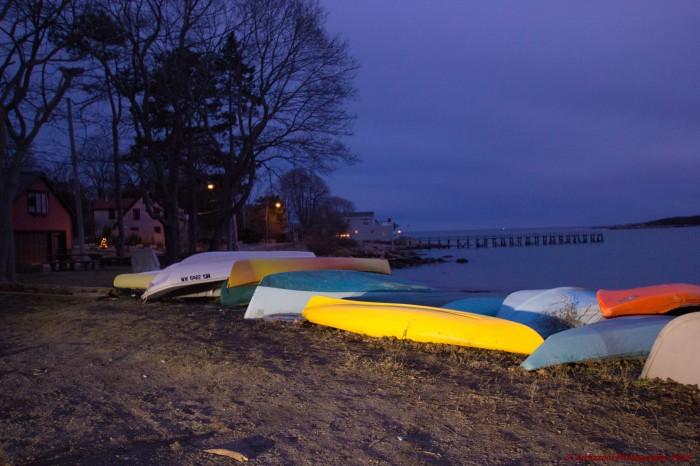 February 1, 2016 Multi color Kayaks on Magnolia Beach