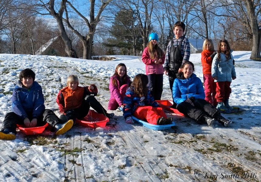 East gloucester gang spring sledding Kim Smith 2016
