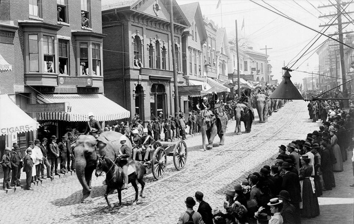 circus parade, main street from post office square.  probably 1892.