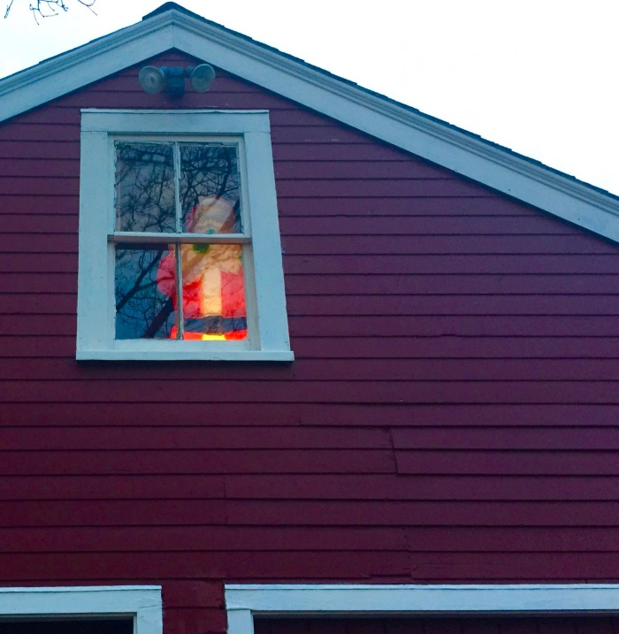 Creepy Santa Stays lit until wreaths are gone.