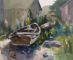 swift_marilyn_skifffishbeachmonhegan watercolor 11x14 image, 20x22.5 framed