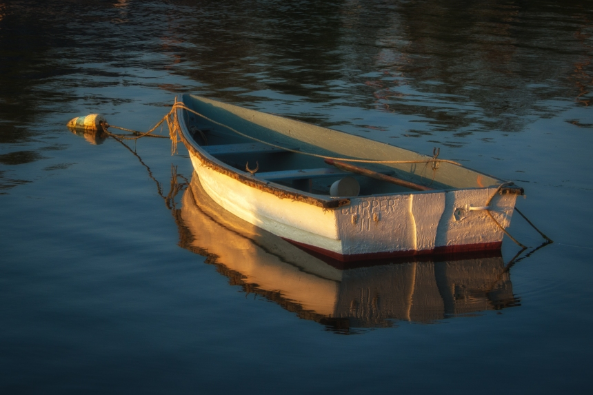 Lanes Cove skiff at Sunset