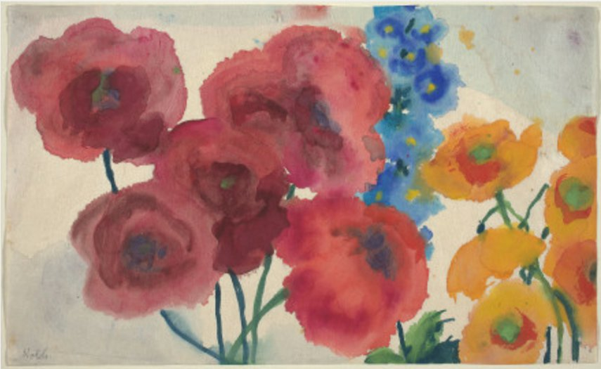 Emile Nolde Red and Yellow Poppies with a Blue Dephinium c. 1930 40