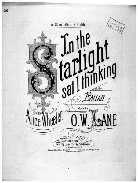 In the Starlight Sat I thinking sheet music loc ow lane