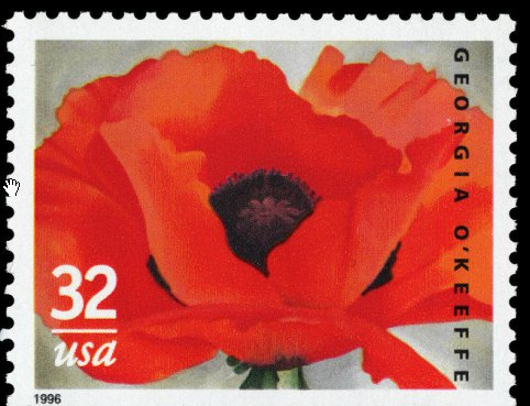 O'Keefe 1927 Red Poppy stamp 1996