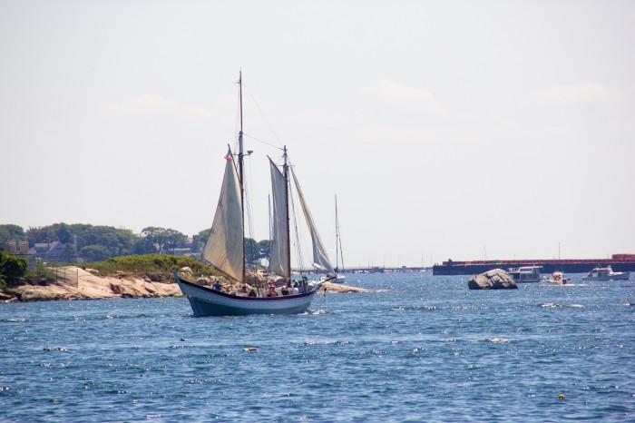 July 21, 2016 The Ardele sailing through Gloucester Harbor