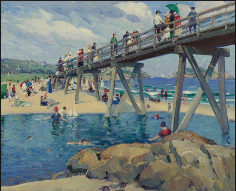 Leon Kroll 1912 oil on canvas 26 x 32  sold at Sothebys 2011 bridge at bass rocks informal title 170,500