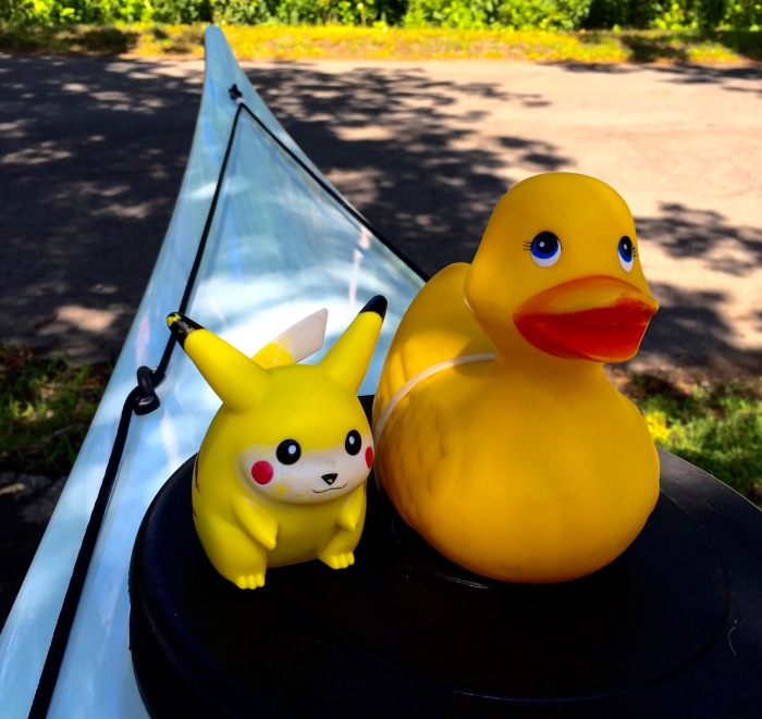 "Rubber Duck: ""You can't paddle any faster?"" Pikachu: ""Will there be any beer left?"""