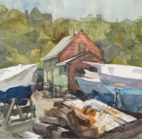 Beacon Marine Boatyard, watercolor 14x14