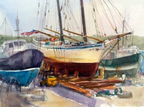 Dry Dock, watercolor 14x21