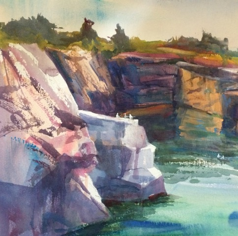 Quarry Ledge, Halibut Point, watercolor 14x14