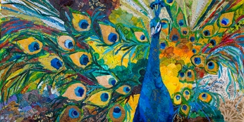 """Elizabeth St. Hilaire, """"Percy Peacock,"""" Collaged Paper Painting"""