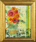 "#63 Susan Daly ""Bouquet with Green Vase Acrylic Collage"