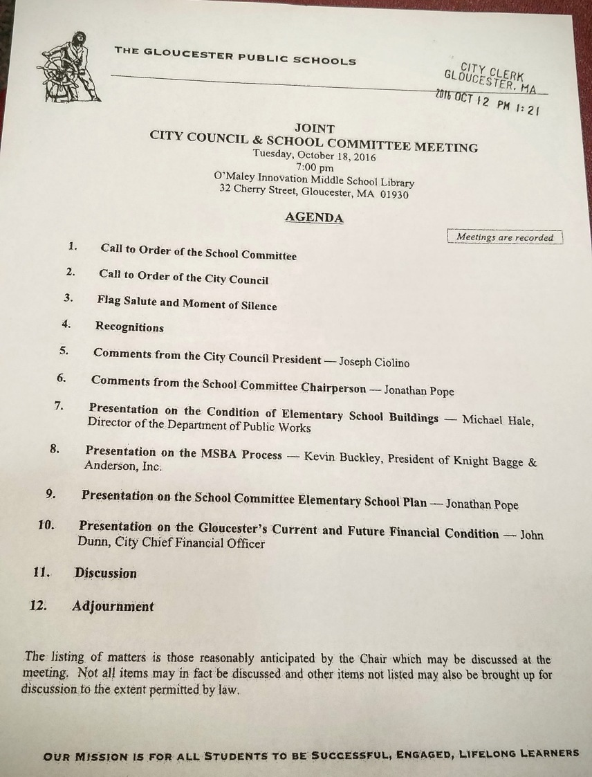 Agenda-- meeting went until 10:30PM