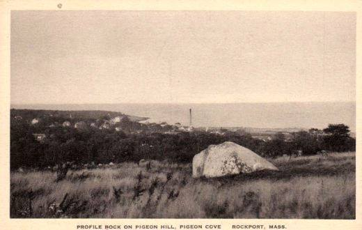 Old photo of Profile Rock with Cape Ann Tool Company Smokestack in background.