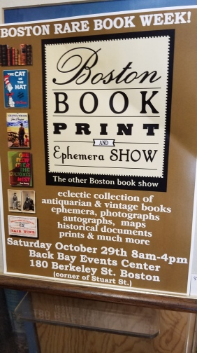 Dogtown Books participates annually in the Boston Book print and Ephemera show. Bob was unpacking boxes from the fair the day I stopped by.