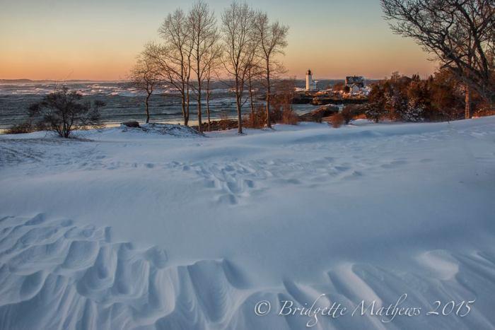 Snow drifts at Annisquam Light