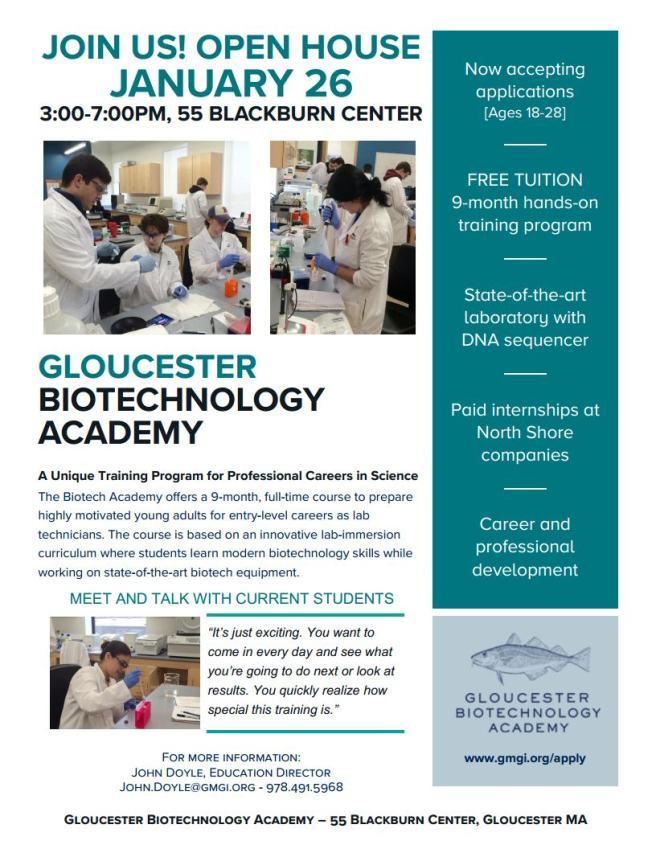 Biotech Academy Recruitment Open House