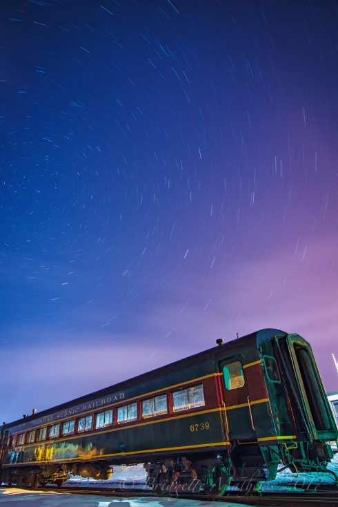 Star trails at Conway Scenic Railroad