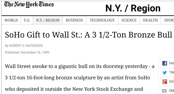Arturo Di Modica wall st bull charging dec 15 1989