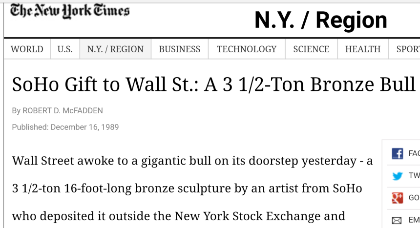 Arturo Di Modica wall st bull charging dec 15 1989