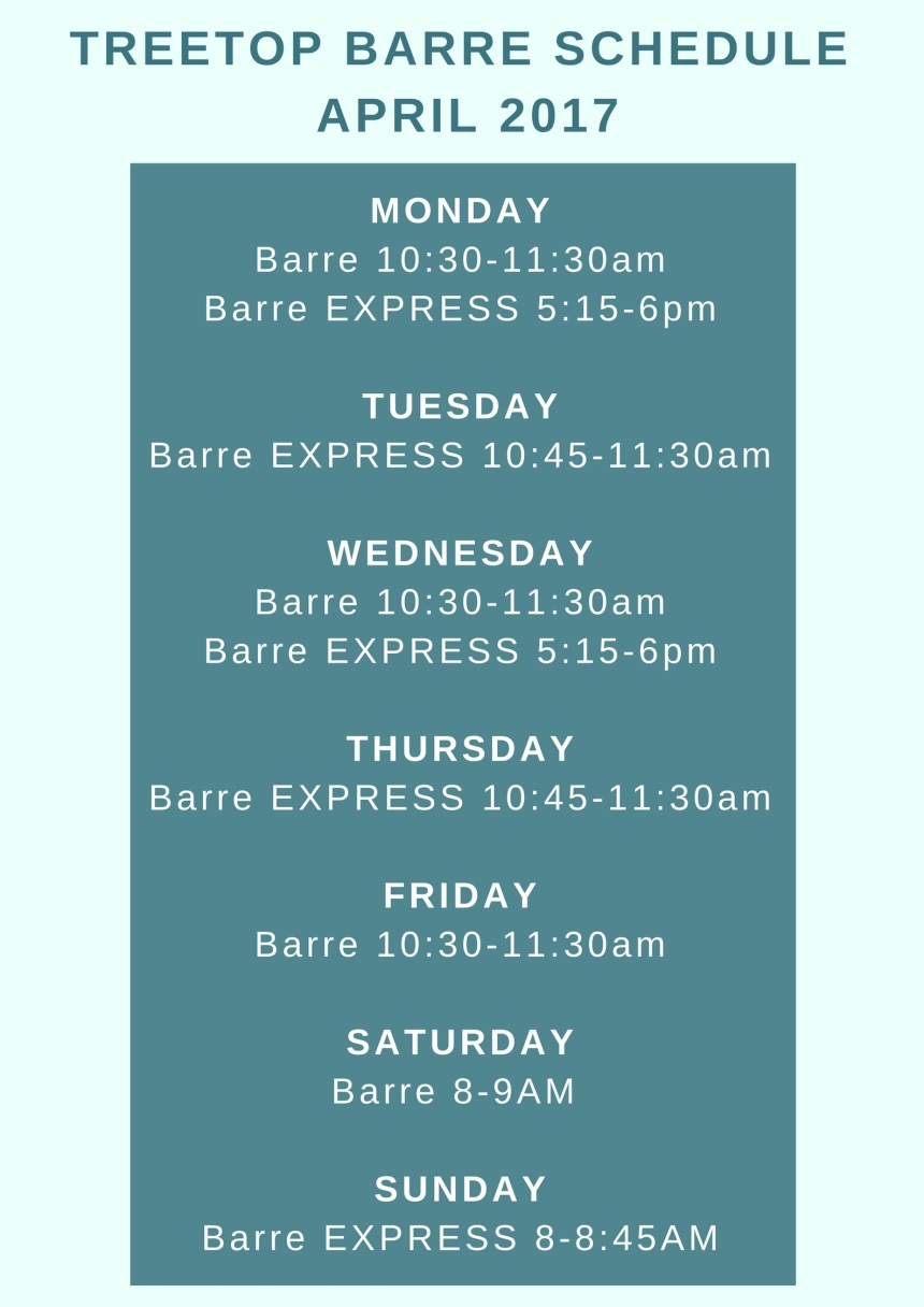 Treetop Yoga April Barre Schedule