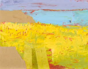 Ruth Mordecai, Yellow Field, acrylic, oil & collage