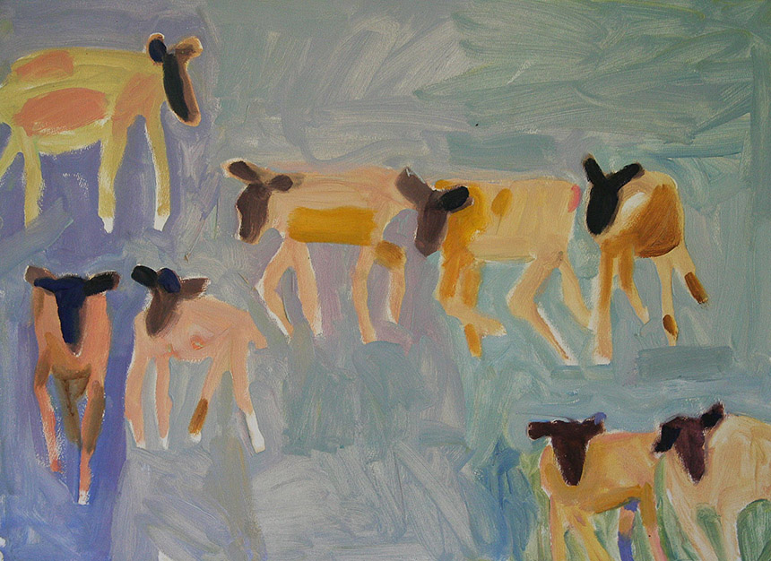TridentGallery_Zygmund-Jankowski_Eight-Sheep-on-Blue-Field_oil-on-paper_-22-x-30-in._-LC#29_p.28.3_2200px-matte
