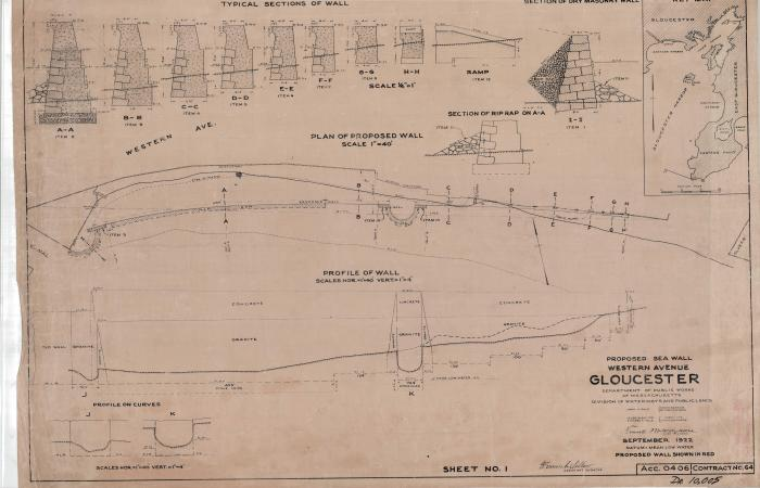 Gloucester MA DPW archives Proposed Sea Wall 1922