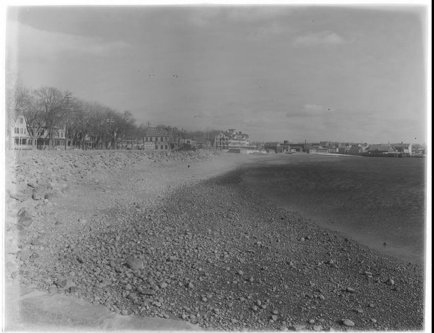 Thomas Warren Sears looking along the beach with the surfside formerly pavilion hotel in the distance