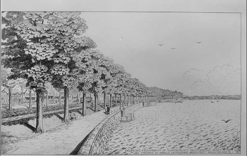 thomas Warren Sears rendering and photograph aag title a perspective drawing for the area along what is now stacy boulevard