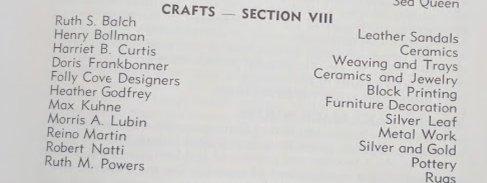 1961 Gloucester MA artisans