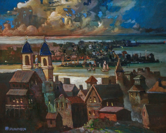 Robert Stephenson (1935-2015), Our Lady of Good Voyage, Gloucester, 1996, oil on canvas. Gift of Richard J. Stephenson and family, 2016. Collection of the Cape Ann Museum [2016.056]