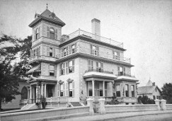 "The Saunders House, now part of the Sawyer Free Library, in the early 1880s. Photo by Edward Corliss & J. F. Ryan House Photographs, c. 1882-85. 4"" x 6"" cabinet cards. From the collection of the Cape Ann Museum Library and Archives."