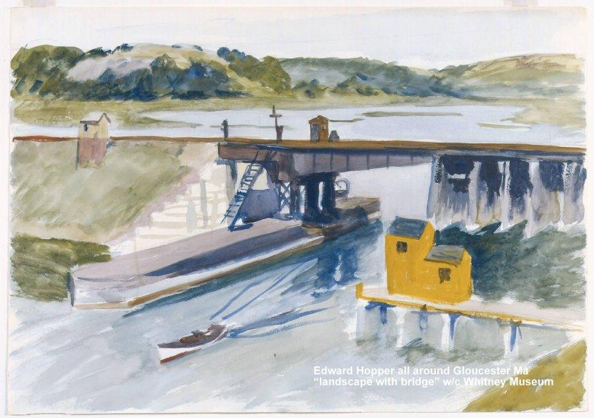 landscape with bridge watercolor whitney