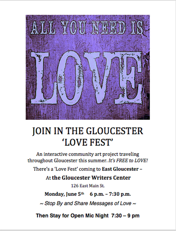 Love Fest Gloucester Writers Center 6.5.17