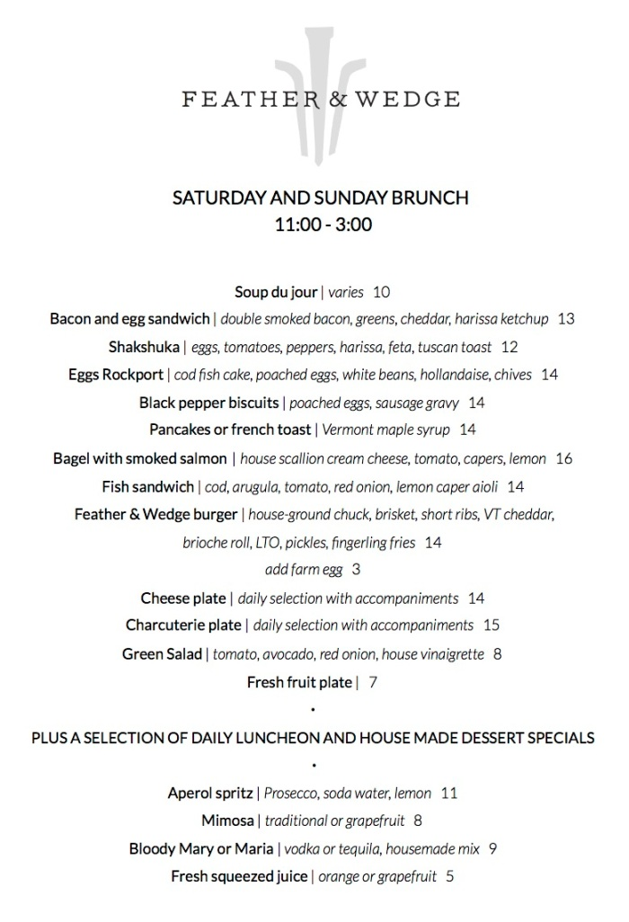 Standard Brunch Menu