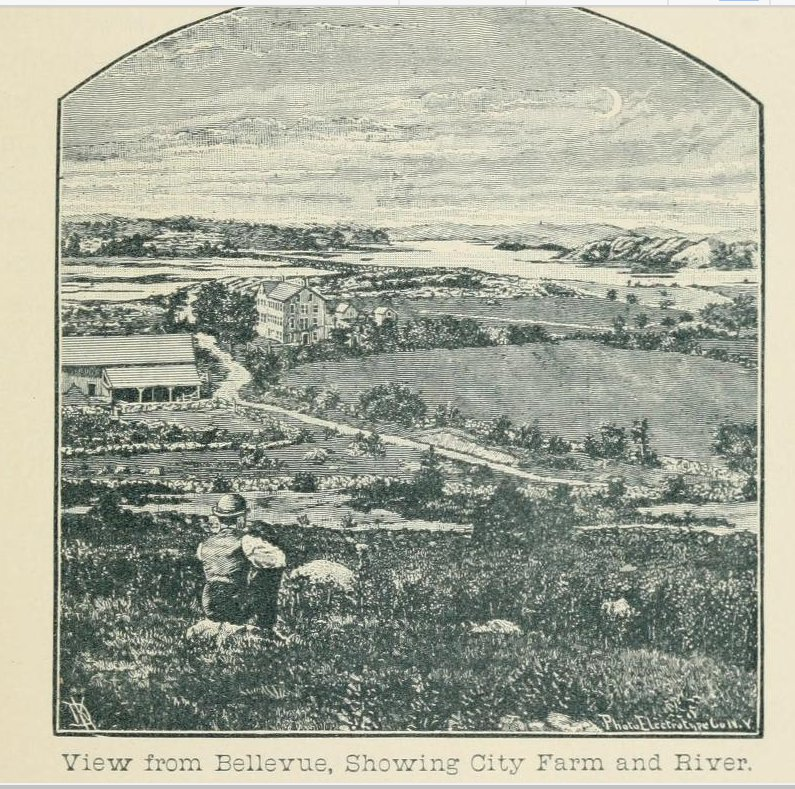 View from Bellevue showing city farm and river
